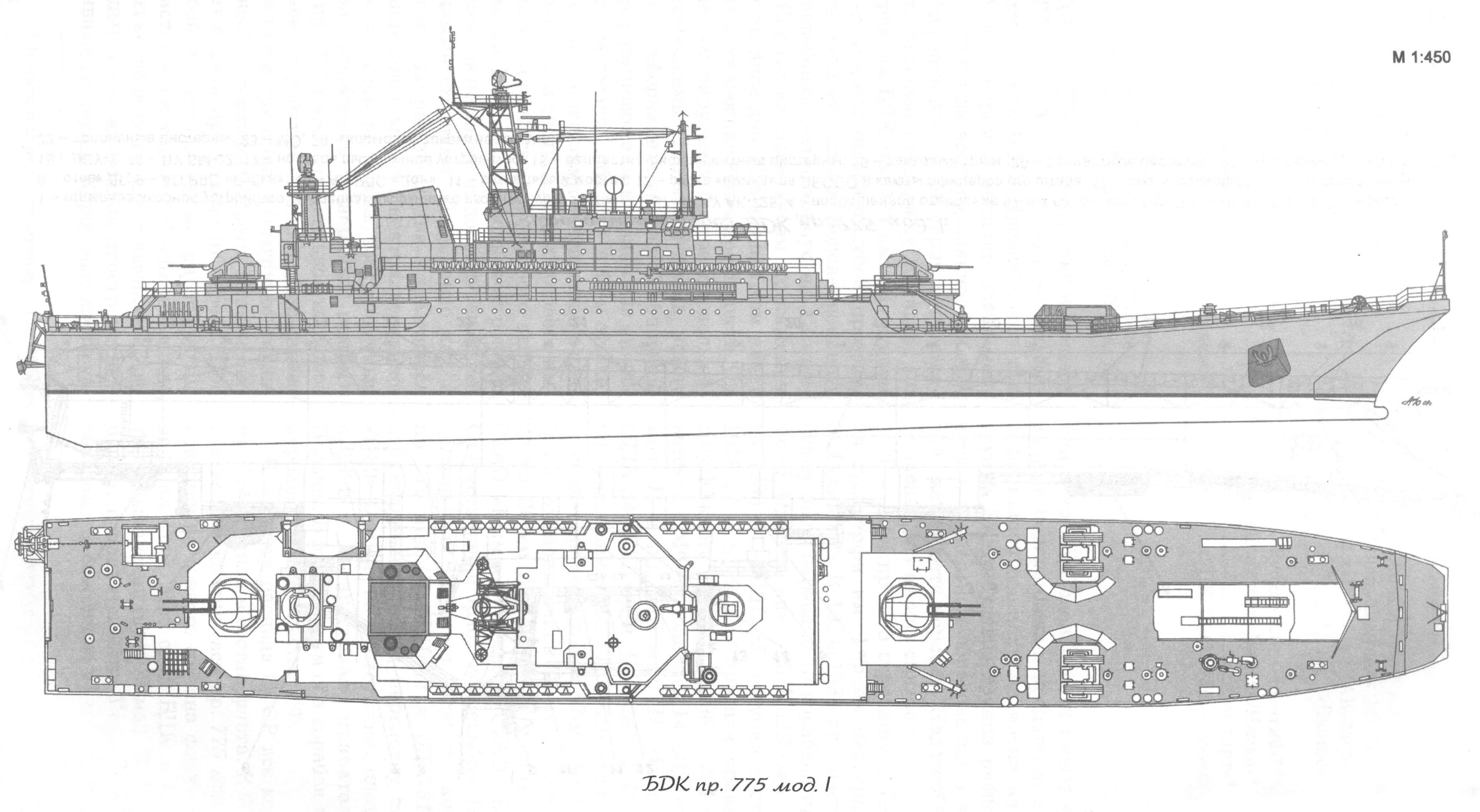 Боковой вид БДК пр.775